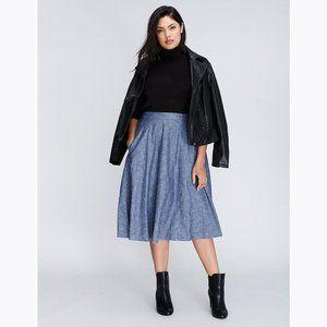 LANE BRYANT Blue Chambray Circle Skirt sz 14